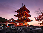 Kiyomizu-dera, Sanjunoto pagoda in Kyoto in beautiful autumn morning sunrise scenery. Kiyomizu-dera Buddhist temple, Higashiyama, Kyoto, Japan 2017. Image © MaximImages, License at https://www.maximimages.com
