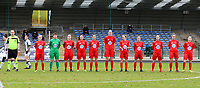 Woluwe players pictured during the line up before a female soccer game between FC Femina White Star Woluwe and Sporting Charleroi on the 10 th matchday of the 2020 - 2021 season of Belgian Scooore Womens Super League , Saturday 19 th of December 2020  in Woluwe , Belgium . PHOTO SPORTPIX.BE | SPP | SEVIL OKTEM