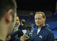 15.01.2014 London, England.  Atlanta Hawks' Mike Budenholzer [Head Coach] is interviewed by the press during the NBA Media Day. The media event forms part of  NBA Basketball Global Game between Atlanta Hawks v Brooklyn Nets taking place at the O2 Arena London Jan 16th