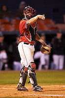Ball State Cardinals catcher Jarett Rindfleisch (25) during a game against the Wisconsin-Milwaukee Panthers on February 26, 2016 at Chain of Lakes Stadium in Winter Haven, Florida.  Ball State defeated Wisconsin-Milwaukee 11-5.  (Mike Janes/Four Seam Images)