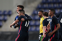 WIENER NEUSTADT, AUSTRIA - MARCH 25: Sebastian Lletget #17 of the United States celebrates scoring with teammates during a game between Jamaica and USMNT at Stadion Wiener Neustadt on March 25, 2021 in Wiener Neustadt, Austria.