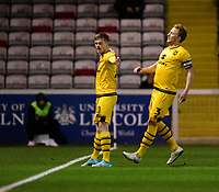 Milton Keynes Dons' Rhys Healey, left, celebrates scoring the opening goal with team-mate Dean Lewington<br /> <br /> Photographer Chris Vaughan/CameraSport<br /> <br /> The EFL Sky Bet League One - Lincoln City v Milton Keynes Dons - Tuesday 11th February 2020 - LNER Stadium - Lincoln<br /> <br /> World Copyright © 2020 CameraSport. All rights reserved. 43 Linden Ave. Countesthorpe. Leicester. England. LE8 5PG - Tel: +44 (0) 116 277 4147 - admin@camerasport.com - www.camerasport.com