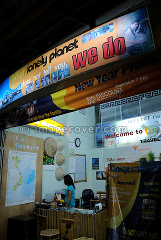 Asia, Vietnam, Ho Chi Minh City (Saigon). Travel agency in the backpackers area around Pham Ngu Lao / Bui Vien St. advertising services beyond the mass market Lonely Planet standard.