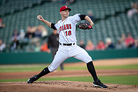 Mitch Keller (18) of the Indianapolis Indians delivers a pitch to the plate at Victory Field on May 14, 2019 in Indianapolis, Indiana. The Indians defeated the RailRiders 4-2. (Andrew Woolley/Four Seam Images)