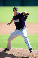 Colorado Rockies minor league pitcher Jesse Meaux #54 during an instructional league game against the San Francisco Giants at the Salt River Flats Complex on October 4, 2012 in Scottsdale, Arizona.  (Mike Janes/Four Seam Images)