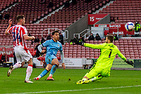 21st April 2021; Bet365 Stadium, Stoke, Staffordshire, England; English Football League Championship Football, Stoke City versus Coventry; Tyler Walker of Coventry City scores a 43rd minute goal for 0-1 past keeper Gunn