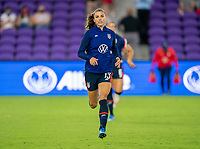 ORLANDO, FL - FEBRUARY 24: Alex Morgan #13 of the USWNT warms up before a game between Argentina and USWNT at Exploria Stadium on February 24, 2021 in Orlando, Florida.
