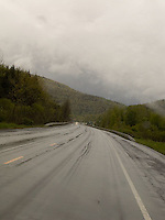 View through rainy windshield<br />