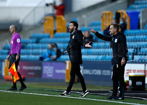 31st October 2020; The Den, Bermondsey, London, England; English Championship Football, Millwall Football Club versus Huddersfield Town; Huddersfield Town manager Carlos Corberan urging on his players from the touchline