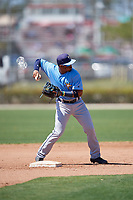 Tampa Bay Rays Wander Franco (4) warms up before a Minor League Spring Training game against the Minnesota Twins on March 17, 2018 at CenturyLink Sports Complex in Fort Myers, Florida.  (Mike Janes/Four Seam Images)