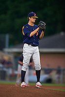 State College Spikes pitcher Carson Cross (43) gets ready to deliver a pitch during a game against the Auburn Doubledays on July 6, 2015 at Falcon Park in Auburn, New York.  State College defeated Auburn 9-7.  (Mike Janes/Four Seam Images)