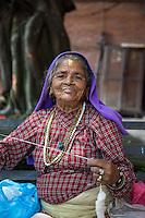 Elderly Lady Sewing at Pashupatinath, Nepal