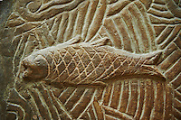 Stone relief sculptured panel of a fish. From the northern courtyard,  Inv AO 19890 from Dur Sharrukin the palace of Assyrian king Sargon II at Khorsabad, 713-706 BC.  Louvre Museum Room 4 , Paris