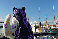 Colorful painted bear statue in Victoria City harbour, south of Vancouver Island, East Pacific ocean, British Columbia, Canada, North America