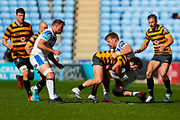 25th April 2021; Ricoh Arena, Coventry, West Midlands, England; English Premiership Rugby, Wasps versus Bath Rugby; Michael Le Bourgeois of Wasps is stopped by Ben Spencer of Bath Rugby