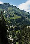 Austria, Vorarlberg, Bregenzerwald, Schroecken: village at Bregenzerwald Road with Heiterberg mountain, 2.192 m