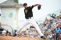 Pittsburgh Pirates pitcher John Holdzkom (43) delivers a pitch during a Spring Training game against the Toronto Blue Jays  on March 3, 2016 at McKechnie Field in Bradenton, Florida.  Toronto defeated Pittsburgh 10-8.  (Mike Janes/Four Seam Images)