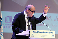 JEAN YVES LE DRIAN MINISTRE DE L EUROPE ET DES AFFAIRES ETRANGERES - PARTICIPE AU COLLOQUE MEDITERRANEE DU FUTUR A MARSEILLE . FRANCE , LE 21/11/2017