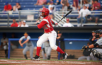 Batavia Muckdogs outfielder Isael Soto (21) at bat during a game against the West Virginia Black Bears on August 31, 2015 at Dwyer Stadium in Batavia, New York.  Batavia defeated West Virginia 5-4.  (Mike Janes/Four Seam Images)