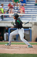 Dayton Dragons right fielder Andy Sugilio (5) follows through on a swing during a game against the Beloit Snappers on July 22, 2018 at Pohlman Field in Beloit, Wisconsin.  Dayton defeated Beloit 2-1.  (Mike Janes/Four Seam Images)