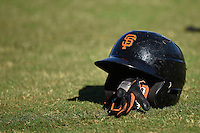 San Francisco Giants helmet and batting gloves during an Instructional League game against the SK Wyverns on October 14, 2014 at Giants Baseball Complex in Scottsdale, Arizona.  (Mike Janes/Four Seam Images)