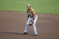 Down East Wood Ducks first baseman Dustin Harris (20) on defense against the Kannapolis Cannon Ballers at Atrium Health Ballpark on May 4, 20121in Kannapolis, North Carolina. (Brian Westerholt/Four Seam Images)