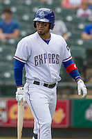 Round Rock Express designated hitter Robinson Chirinos #14 during the game against the New Orleans Zephyrs in the Pacific Coast League baseball game on April 21, 2013 at the Dell Diamond in Round Rock, Texas. Round Rock defeated New Orleans 7-1. (Andrew Woolley/Four Seam Images).