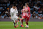 Real Madrid's Carlos Henrique Casemiro and Girona FC's Borja Garcia during Copa del Rey match between Real Madrid and Girona FC at Santiago Bernabeu Stadium in Madrid, Spain. January 24, 2019. (ALTERPHOTOS/A. Perez Meca)