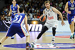 Real Madrid´s Andres Nocioni and Anadolu Efes´s Thomas Heurtel during 2014-15 Euroleague Basketball Playoffs second match between Real Madrid and Anadolu Efes at Palacio de los Deportes stadium in Madrid, Spain. April 17, 2015. (ALTERPHOTOS/Luis Fernandez)