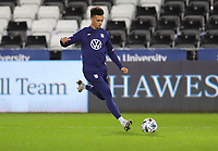 SWANSEA, WALES - NOVEMBER 12: Antonee Robinson #5 of the United States warming up before a game between Wales and USMNT at Liberty Stadium on November 12, 2020 in Swansea, Wales.