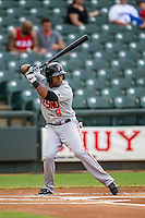 Fresno Grizzlies outfielder Darren Ford (9) at bat during the Pacific Coast League baseball game against the Round Rock Express on June 22, 2014 at the Dell Diamond in Round Rock, Texas. The Express defeated the Grizzlies 2-1. (Andrew Woolley/Four Seam Images)