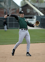 April 23, 2004:  Erik Kratz of the New Hampshire Fisher Cats, Double-A Eastern League affiliate of the Toronto Blue Jays, during a game at Jerry Uht Park in Erie, PA.  Photo by:  Mike Janes/Four Seam Images