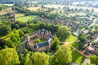 France, Cher, Berry, Route Jacques Coeur, Ainay le Vieil, Chateau d'Ainay le Vieil (aerial view) // France, Cher (18), Berry, Route Jacques Coeur, Ainay-le-Vieil, le château (vue aérienne)