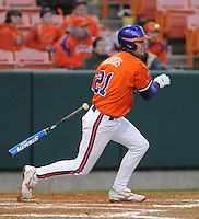 Matt Sanders (21) hits during a game between the Charlotte 49ers and Clemson Tigers Feb. 20, 2009, at Doug Kingsmore Stadium in Clemson, S.C. (Photo by: Tom Priddy/Four Seam Images)