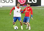 Spain's Thiago Alcanatara (l) and David Jimenez Silva during training session previous friendly match. May 31,2016.(ALTERPHOTOS/Acero)