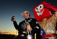 Oct. 30, 2011; Las Vegas, NV, USA: NHRA top fuel dragster driver Del Worsham celebrates after winning the Big O Tires Nationals at The Strip at Las Vegas Motor Speedway. Mandatory Credit: Mark J. Rebilas-