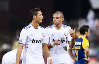 Cristiano Ronaldo (left) talks to Pepe (right). Real Madrid defeated Club America 3-2 at Candlestick Park in San Francisco, California on August 4th, 2010.