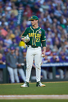 Baylor Bears starting pitcher Evan Godwin (27) during the game against the LSU Tigers in game five of the 2020 Shriners Hospitals for Children College Classic at Minute Maid Park on February 28, 2020 in Houston, Texas. The Bears defeated the Tigers 6-4. (Brian Westerholt/Four Seam Images)