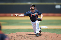 Virginia Cavaliers relief pitcher Mack Meyer (47) delivers a pitch to the plate against the Wake Forest Demon Deacons at David F. Couch Ballpark on May 19, 2018 in  Winston-Salem, North Carolina. The Demon Deacons defeated the Cavaliers 18-12. (Brian Westerholt/Four Seam Images)