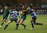 Blues flanker Josh Navidi stops Connacht centre Eoin Griffin with Rhys Patchell in support.<br /> RaboDirect Pro 12<br /> Cardiff Blues v Connacht<br /> Cardiff Arms Park<br /> 13.09.13<br /> <br /> ©Steve Pope-SPORTINGWALES