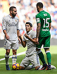 Alvaro Morata of Real Madrid reacts as Daniel Carvajal Ramos of Real Madrid and Diego Rico of Deportivo Leganes stand next to him during their La Liga match between Real Madrid and Deportivo Leganes at the Estadio Santiago Bernabéu on 06 November 2016 in Madrid, Spain. Photo by Diego Gonzalez Souto / Power Sport Images