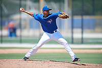 GCL Blue Jays relief pitcher Danilo Manzueta (28) delivers a pitch during a game against the GCL Pirates on July 20, 2017 at Bobby Mattick Training Center at Englebert Complex in Dunedin, Florida.  GCL Pirates defeated the GCL Blue Jays 11-6 in eleven innings.  (Mike Janes/Four Seam Images)