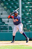 Outfielder Jose Morel (93) of the Atlanta Braves farm system in a Minor League Spring Training intrasquad game on Wednesday, March 18, 2015, at the ESPN Wide World of Sports Complex in Lake Buena Vista, Florida. (Tom Priddy/Four Seam Images)