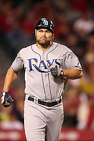 Tampa Bay Rays designated hitter Johnny Damon #22 runs the bases against the Los Angeles Angels at Angel Stadium on June 18, 2011 in Anaheim,California. (Larry Goren/Four Seam Images)
