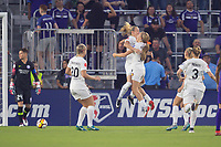Orlando, FL - Saturday March 24, 2018: Utah Royals Gunnhildur Jonsdottir (23) celebrates her first half goal with Utah Royals forward Brittany Ratcliffe (25) during a regular season National Women's Soccer League (NWSL) match between the Orlando Pride and the Utah Royals FC at Orlando City Stadium. The game ended in a 1-1 draw.