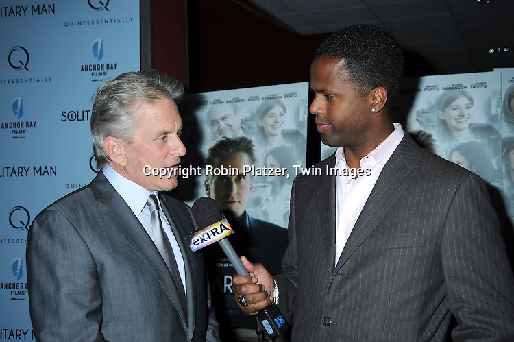 """Michael Douglas  and AJ Calloway attending  The New York Premiere of """"Solitary Man"""" starring Michael Douglas, Jenna Fischer, Imogen Poots at Cinema 2 on May 11, 2010 in New York City."""