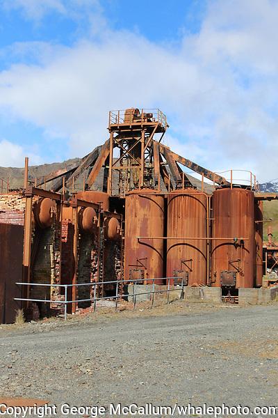 Old´whale Oil tanks and apparatus at Former whaling station at Grytviken. South Georgia islands, Southern Ocean, Antarctica.