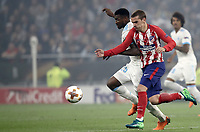 Olympique de Marseille's Andre Zambo Anguissa, left, and  Club Atletico de Madrid's Antoine Griezmann fight for the ball during the UEFA Europa League final football match between Olympique de Marseille and Club Atletico de Madrid at the Groupama Stadium in Decines-Charpieu, near Lyon, France, May 16, 2018.<br /> UPDATE IMAGES PRESS/Isabella Bonotto