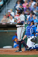 Gwinnett Braves left fielder Ronald Acuna (24) at bat during a game against the Buffalo Bisons on August 19, 2017 at Coca-Cola Field in Buffalo, New York.  Gwinnett defeated Buffalo 1-0.  (Mike Janes/Four Seam Images)