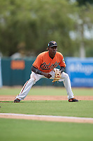 Baltimore Orioles Jean Carlos Encarnacion (82) during a Florida Instructional League game against the Boston Red Sox on October 8, 2018 at the Ed Smith Stadium in Sarasota, Florida.  (Mike Janes/Four Seam Images)